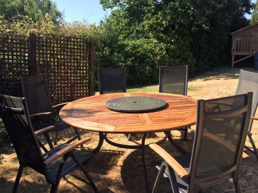 Hartman Solid wood garden Table with granite lazy Susan ...