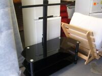 Large Black Glass T V Stand and Bracket - for up to 50 Inch TV