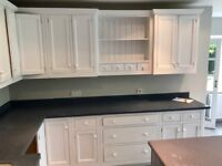 Quality Shaker Kitchen for sale including cupboards, oven, sink, taps, & corian worktop