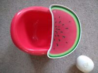 Red Bumbo with Tray and 2 tray covers, used but in good condition