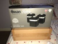 Brand new set of 3 Swan Canisters, never been out of box. Black and Silver £20