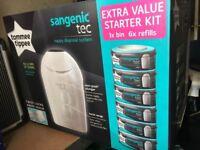 Tommee Tippee Sangenic tec 1x bin 6x refill- Nappy disposal system