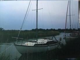 Yacht 27' wooden mahogany folk boat