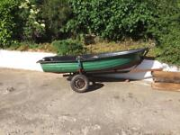12 ft fibreglass boat and trailer
