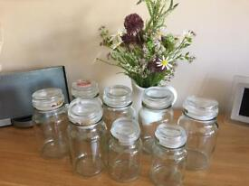 Empty glass jars ideal for crafting/weddings/parties