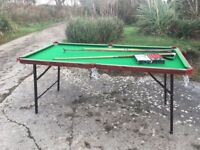 Folding snooker table 6ft x 3ft with balls, cues and scoreboard