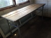 Old Heavy Duty Workbench with Wood and Metal