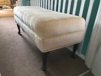 Bedroom or living room cream upholstered bench