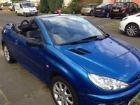 Peugeot 206CC 2003 2.0l Blue Full black leather interior needs repair or spares