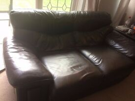 1 x Large 2 Seater and 1 x Large 3 Seater Brown Leather Sofa's for Sale