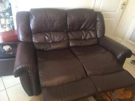 Brown 2 seater recliner