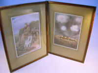 """Collectable x2 WW1 Framed Bruce Bairnsfather Prints 15"""" x 11.5"""" VGC (WH_1332)"""