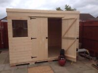 PENT GARDEN SHED/WORKSHOP HEAVY DUTY... NEW, 10X8..WELL MADE TONGUE+GROOVE BUILDINGS.NOTTINGHAMSHIRE