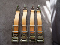 """Huge Set Of 4 75mm 3"""" Heavy Duty Ratchet Straps 9m Long Brand New Never Used"""