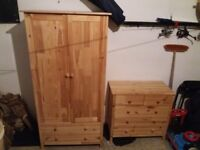 Small Pine Wardrobe and matching chest of drawers -
