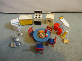 Collection of vintage dolls house furniture
