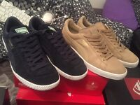 2 pairs size 8 Suede puma trainers shoes worn once £30 for both pairs in boxes