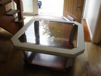 Half painted mahogany & glass coffee table - a DIY opportunity