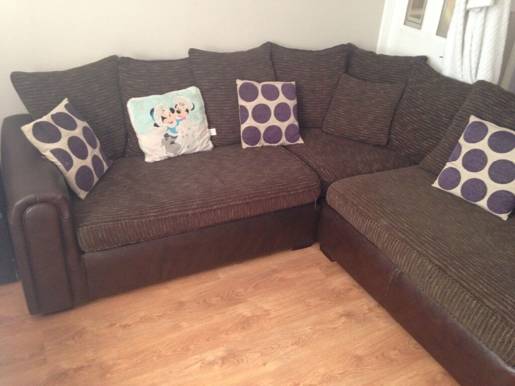 Brown Leather And Material Corner Sofa In Cadishead Manchester