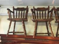Lovely pair Of solid pine farmhouse carver dining kitchen chairs vgc