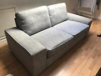 Ikea Kivik Light Grey Fabric 2 Seater Sofa
