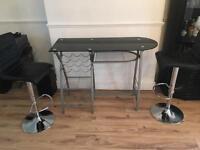 Glass/Silver Bar Breakfast Bar Table + Chairs