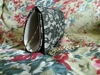 Black & Silver Lace Clutch bag