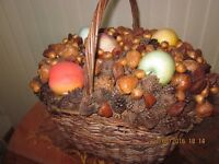 Vintage fruit and assorted nuts and cones basket display piece home shop