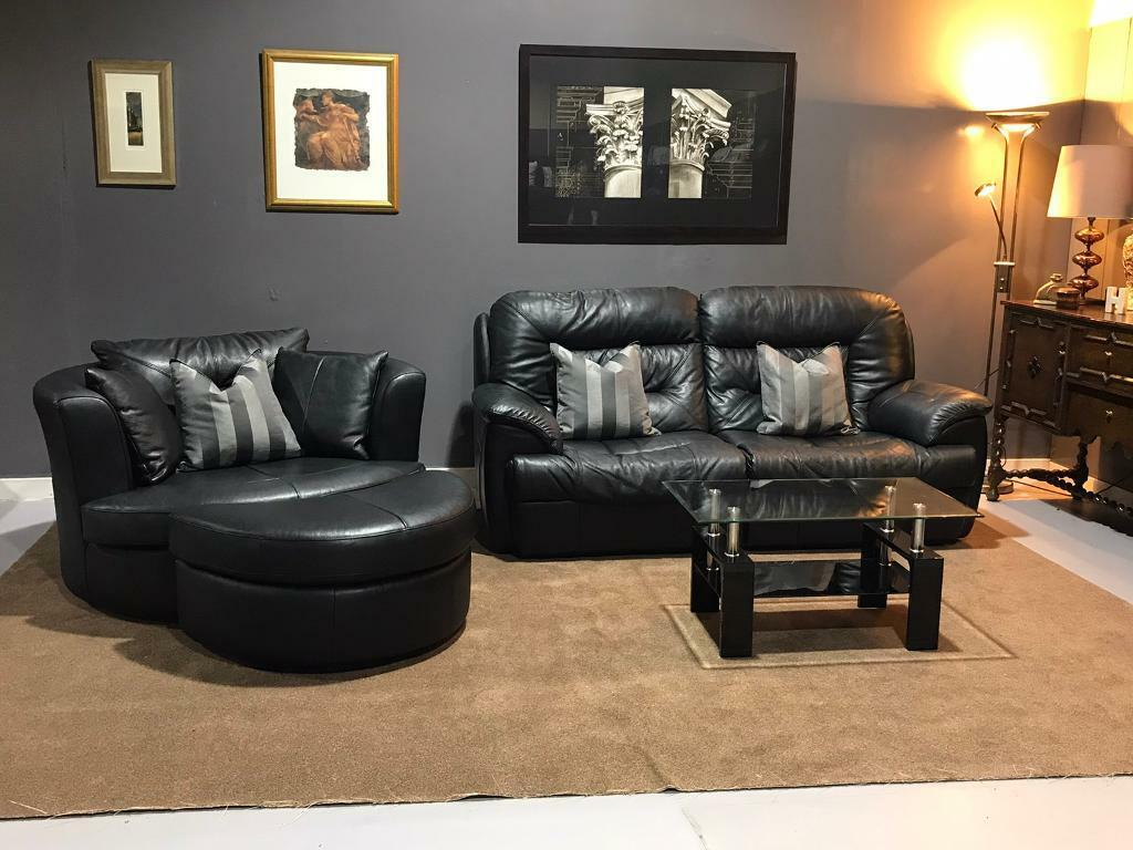 Black leather Electric recliner suite 2 seater sofa large ...
