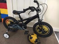 "Batman Boys Bike Bicycle 16"" Inch Wheels, with batman helmet and stabilisers"