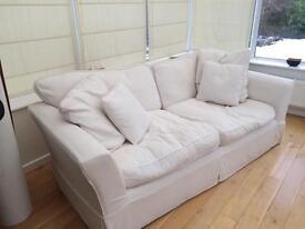 Cream linen settees
