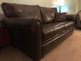 Brilliant condition Derwent Brown Leather Sofa.