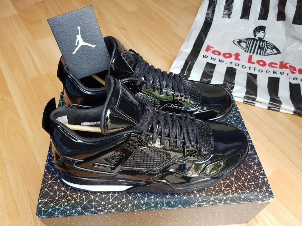 fac522bede9d02 Nike Air Jordan 4 11Lab4 BLACK Patent Leather QS LTD RARE LIKE KAWS UK10  ORIGINAL Receipt 100sales