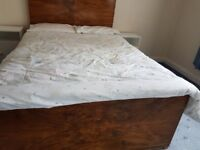 Walnut 1950's double bed frame