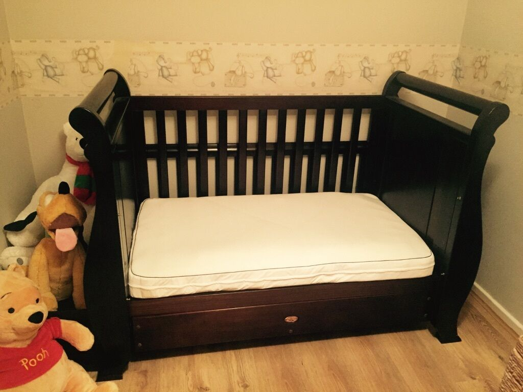 Boori Solid Oak Sleigh Cot Bed Country Collection With