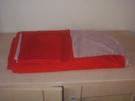 RED & Beige Double Sided King Size Duvet Cover & 2 Pillows Cases
