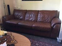 Real leather 3seater sofa + electric recliner armchair