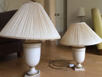 2 matching Table lamps in cream with gold trim