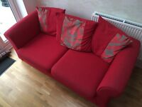Red 3 seater fabric sofa and single fabric chair - good condition