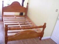 CAN DELIVER - SOLID PINE DOUBLE BED FRAME IN VERY GOOD CONDITION