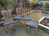 4 X OAK DINING ROOM CHAIRS - EXCELLENT CONDITION