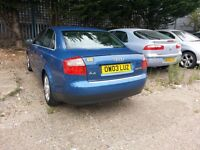 2003 AUDI A4 2.5 TDi FULLY LOADED BARGAIN PRICE PART SERVICE HISTORY SPARE OR REPAIRS MOT RUN OUT