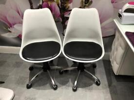 2 white plastic chairs £10 for one £15 for two