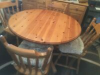 Solid pine cottage style table and chairs