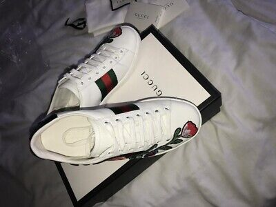 GUCCI Womens White Ace Embroided Low-Top sneaker (RRP £485) size 35.5 (UK 2.5)