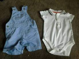 M&S Autograph dungarees and polo vest 0-3 months