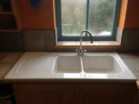 Ceramic kitchen sink 1 & 3/4 bowls with draining board