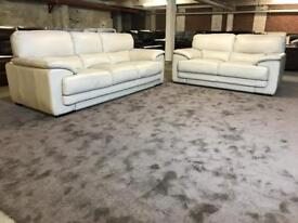 NEW SOFOLOGY CREAM REAL ITALIAN LEATHER 3 and 2 SEATER SOFA KISMET KARMA STYLE NOT RECLINER