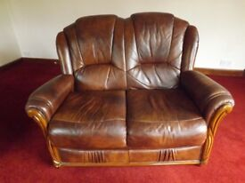 Leather armchair and settee