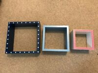 Wall Mountable Cubes / Shelves (blue, red, white)
